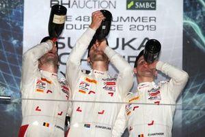 Podium: Race winner #25 Audi Sport Team WRT Audi R8 LMS GT3 Evo: Dries Vanthoor, Kelvin van der Linde, Frédéric Vervisch