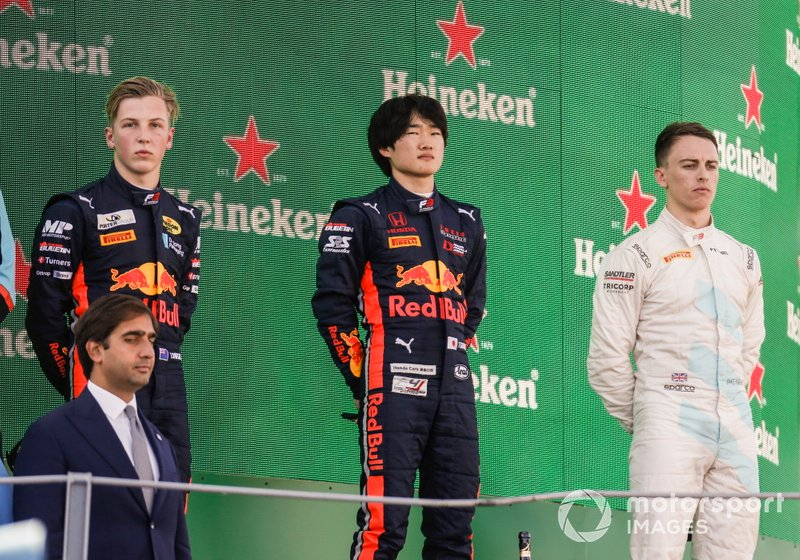 Yuki Tsunoda, Jenzer Motorsport, Jake Hughes, HWA RACELAB and Liam Lawson, MP Motorsport on the podium