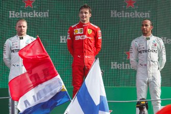 Valtteri Bottas, Mercedes AMG F1, Race winner Charles Leclerc, Ferrari and Lewis Hamilton, Mercedes AMG F1 on the podium