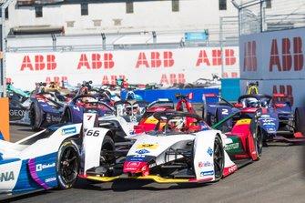 Daniel Abt, Audi Sport ABT Schaeffler, Audi e-tron FE05 leadsJose Maria Lopez, Dragon Racing, Penske EV-3, Sam Bird, Envision Virgin Racing, Audi e-tron FE05