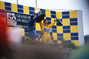 Podio: il vincitore della gara Michael Schumacher, Benetton, secondo classificato Nigel Mansell, Williams, terzo classificato Riccardo Patrese, Williams