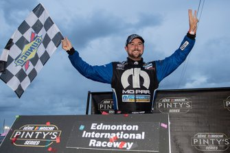 Andrew Ranger celebrates winning the Luxxur 300 at Edmonton International Raceway for his third win of the season and second thisweek on the western swing for the NASCAR Pinty's Series