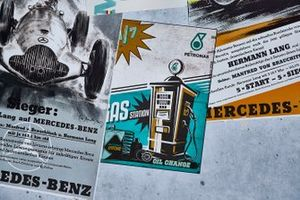 Posters and flyers commemorating 125 years of motor racing for Mercedes