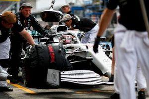 Lewis Hamilton, Mercedes AMG F1 W10, in the pit lane