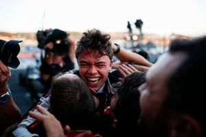 Nyck De Vries, ART Grand Prix, celebrates winning the drivers' title