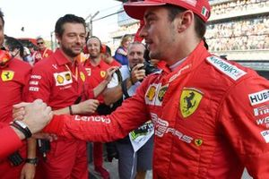Pole man Charles Leclerc, Ferrari, celebrates with his team