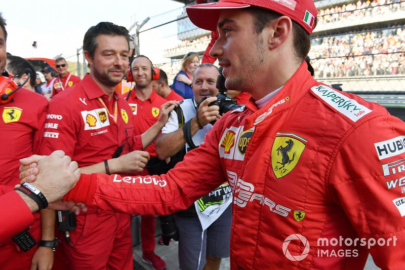 Pole man Charles Leclerc, Ferrari, celebrates with his team
