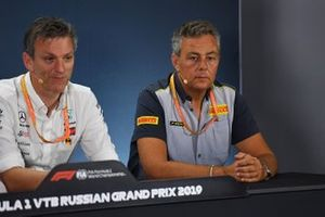 James Allison, Technical Director, Mercedes AMG, and Mario Isola, Racing Manager, Pirelli Motorsport