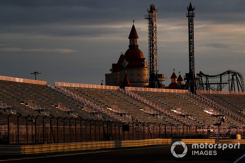 A scenic view of the Sochi track and grandstand