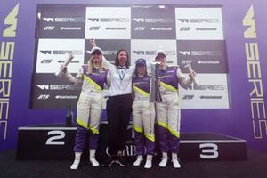 Beitske Visser, Catherine Bond Muir, CEO , Jamie Chadwick and Alice Powell celebrate on the podium with the trophies