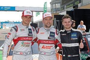 Top 3 après les qualifications, le poleman Jamie Green, Audi Sport Team Rosberg, Nico Müller, Audi Sport Team Abt Sportsline, Jonathan Aberdein, Audi Sport Team WRT