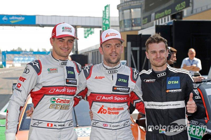 Top 3 Qualifiche, il Poleman Jamie Green, Audi Sport Team Rosberg, Nico Müller, Audi Sport Team Abt Sportsline, Jonathan Aberdein, Audi Sport Team WRT