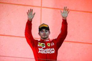 Charles Leclerc, Ferrari, 3rd position, on the podium