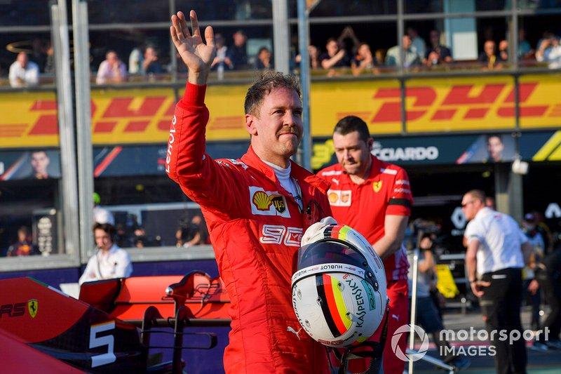 Sebastian Vettel, Ferrari festeggia al Parco Chiuso