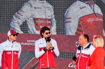 Kimi Raikkonen, Alfa Romeo Racing, Antonio Giovinazzi, Alfa Romeo Racing and Frederic Vasseur, Team Principal, Alfa Romeo Racing at the Federation Square event