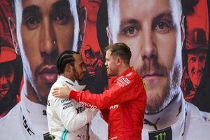 Sebastian Vettel, Ferrari, 3rd position, congratulates Lewis Hamilton, Mercedes AMG F1, 1st position, in Parc Ferme