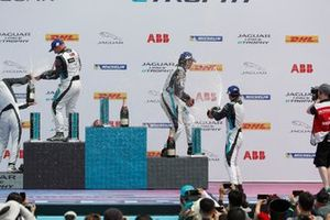 Simon Evans, Team Asia New Zealand, Cacá Bueno, Jaguar Brazil Racing, Bryan Sellers, Rahal Letterman Lanigan Racing, celebrate on the podium