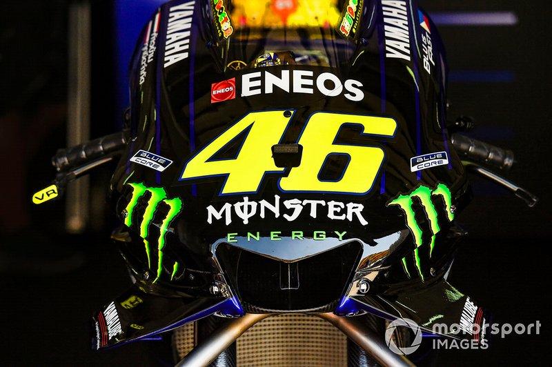 Dettaglio della moto di Valentino Rossi, Yamaha Factory Racing