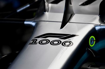 The F1 1000 logo on the nose of the Mercedes AMG F1 W10