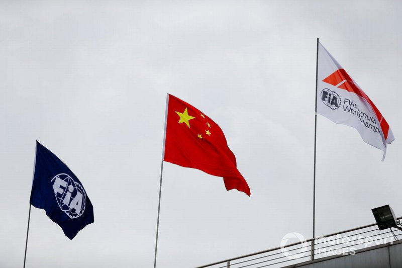 FIA flag, Chinese flag and F1 flag
