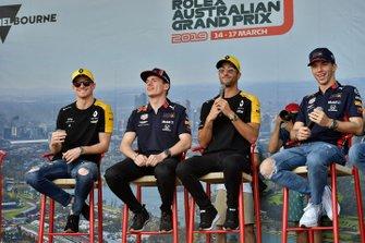 Nico Hulkenberg, Renault F1 Team, Max Verstappen, Red Bull Racing, Daniel Ricciardo, Renault, and Pierre Gasly, Red Bull Racing, on stage