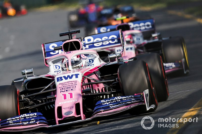 Sergio Perez, Racing Point RP19, y Lance Stroll, Racing Point RP19