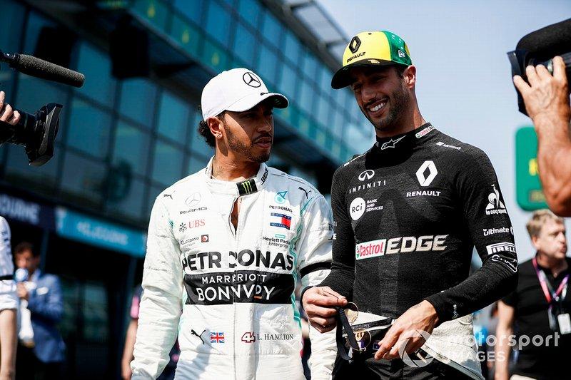Lewis Hamilton, Mercedes AMG F1 et Daniel Ricciardo, Renault F1 Team