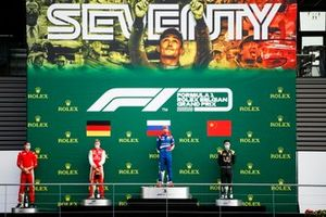 Mick Schumacher, Prema Racing, Race Winner Robert Shwartzman, Prema Racing and Guanyu Zhou, UNI-Virtuosi on the podium