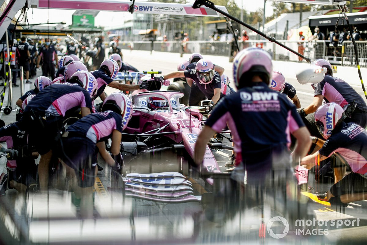 Lance Stroll, Racing Point RP20 en pits