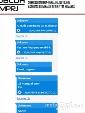Conversa de WhatsApp que comprovaria relação de JR Pereira com Rafael Alves