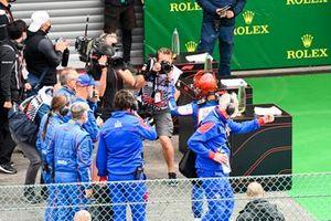 Race winner Lirim Zendeli, Trident celebrates in Parc Ferme