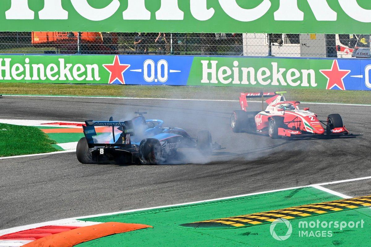 Calan Williams, Jenzer Motorsport trompea y Frederik Vesti, Prema Racing