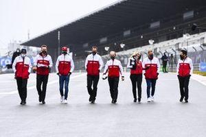 Antonio Giovinazzi, Alfa Romeo and Mick Schumacher, Alfa Romeo walk the track