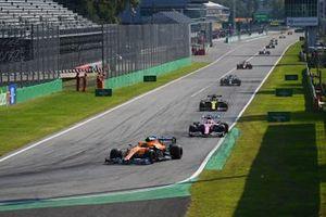 Lando Norris, McLaren MCL35, Lance Stroll, Racing Point RP20, Daniel Ricciardo, Renault F1 Team R.S.20, and Valtteri Bottas, Mercedes F1 W11
