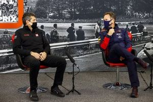 Guenther Steiner, Team Principal, Haas F1 and Christian Horner, Team Principal, Red Bull Racing in the press conference
