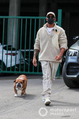 Lewis Hamilton, Mercedes AMG F1, and his dog Roscoe
