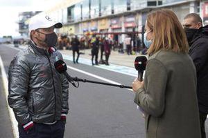 Valtteri Bottas, Mercedes-AMG F1, is interviewed by Natalie Pinkham, Sky TV