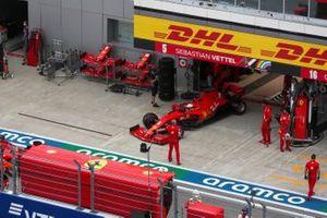 Sebastian Vettel, Ferrari SF1000, leaves the garage