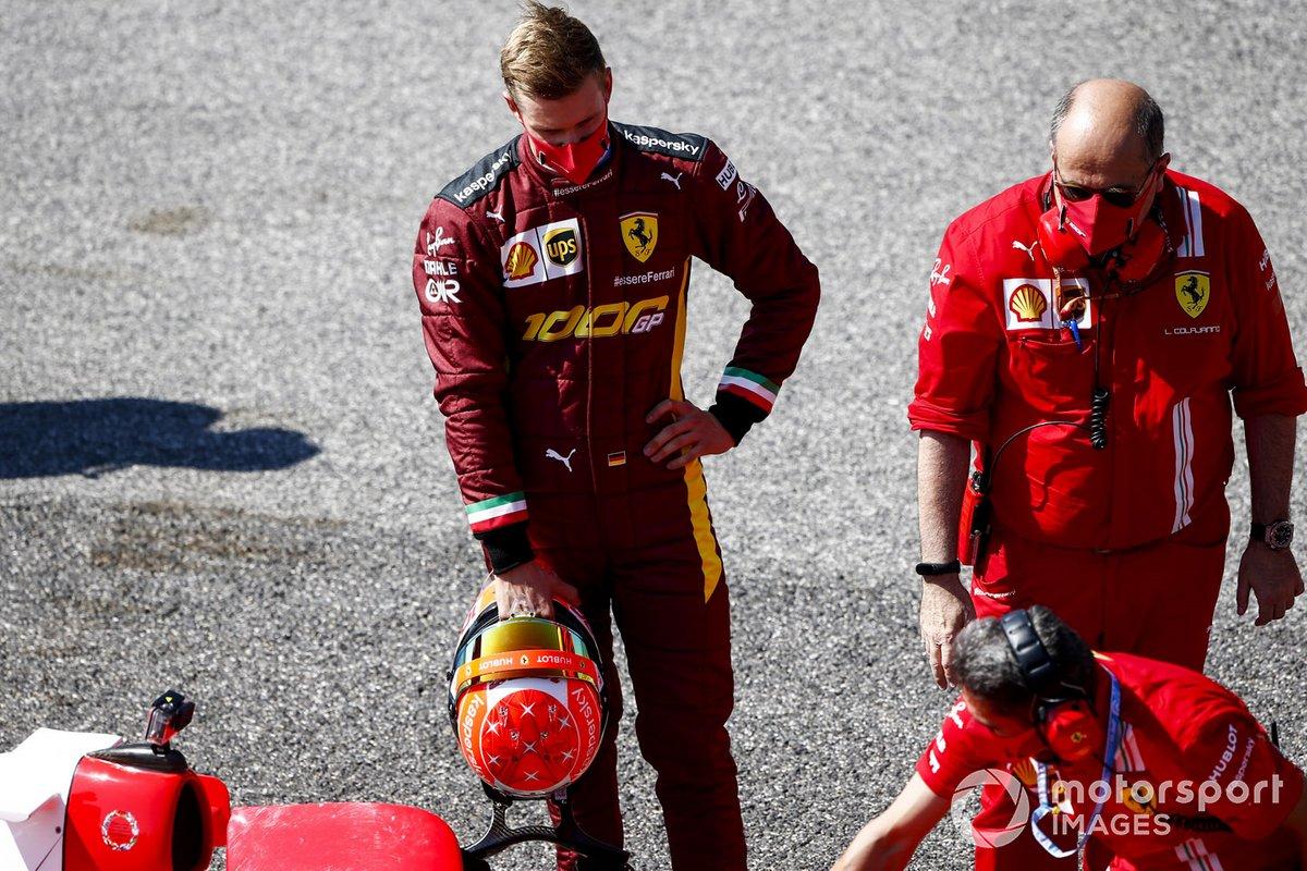 Mick Schumacher prepares to drive his fathers championship winning Ferrari F2004