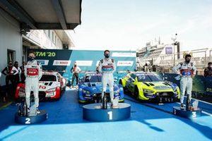 Podium: Race winner Robin Frijns, Audi Sport Team Abt Sportsline, second place René Rast, Audi Sport Team Rosberg, third place Mike Rockenfeller, Audi Sport Team Phoenix