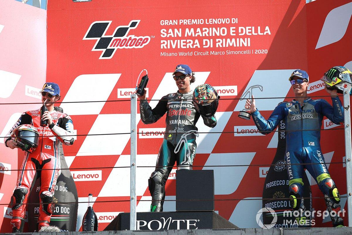 Podio: ganador de la carrera Franco Morbidelli, Petronas Yamaha SRT, segundo lugar Francesco Bagnaia, Pramac Racing, tercer lugar, tercer lugar Joan Mir, Team Suzuki MotoGP