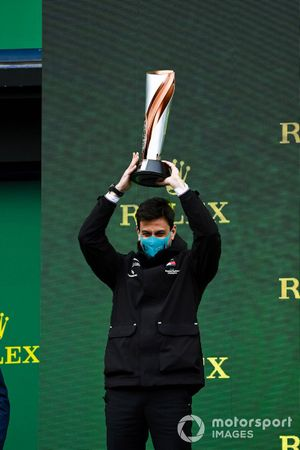 Toto Wolff, Executive Director (Business), Mercedes AMG, lifts the Constructors trophy for Mercedes