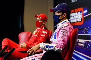 Sergio Perez, Racing Point and Sebastian Vettel, Ferrari in the press conference