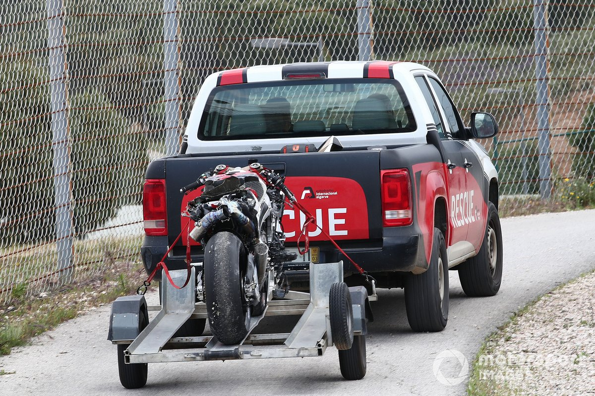 Moto danneggiata di Takaaki Nakagami, Team LCR Honda