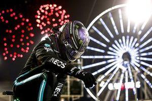 Lewis Hamilton, Mercedes, 1st position, celebrates on arrival in Parc Ferme
