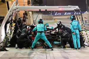 Valtteri Bottas, Mercedes W12, makes a pit stop