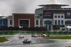 Nicholas Latifi, Williams FW43, Romain Grosjean, Haas VF-20, Alex Albon, Red Bull Racing RB16, and Daniil Kvyat, AlphaTauri AT01