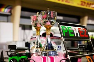 The trophies on the car of Sergio Perez, Racing Point RP20, 1st position