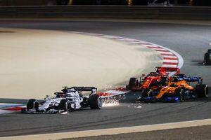 Pierre Gasly, AlphaTauri AT01, Lando Norris, McLaren MCL35, and Sebastian Vettel, Ferrari SF1000