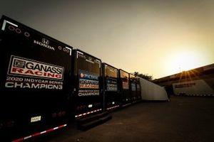 Scott Dixon, Chip Ganassi Racing Honda, Alex Palou, Chip Ganassi Racing Honda, Marcus Ericsson, Chip Ganassi Racing Honda, Jimmie Johnson, Chip Ganassi Racing Honda, transporters